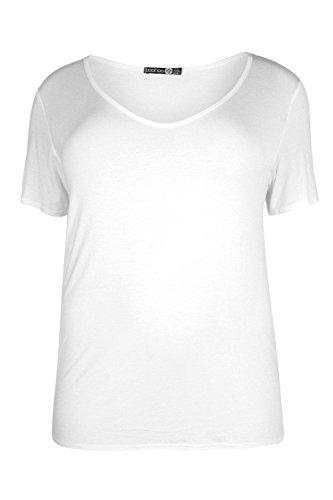blanc Femmes Plus Claire T-shirt À Col V Et Épaules Dénudées Blanc