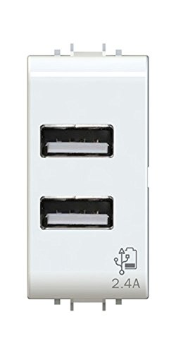 4Box Presa USB 2.4 Ampere, compatibile con Gewiss Chorus Bianca