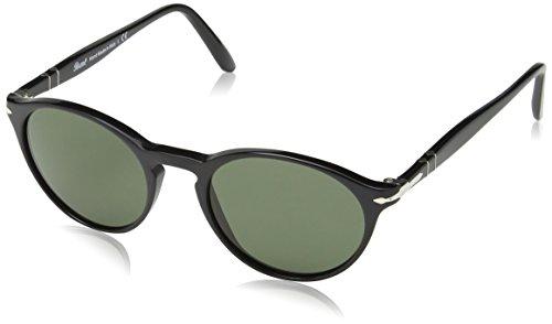 Persol Unisex PO3092SM Sonnenbrille, Gestell: schwarz, Gläser: grün 901431), Small (50)