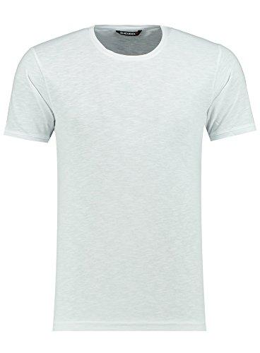 Herren T-Shirt - Rundhals - Slim-Fit/Figurbetont - Oversize - Meliert - Modernes Kurzarm Vintage Shirt Weiß M