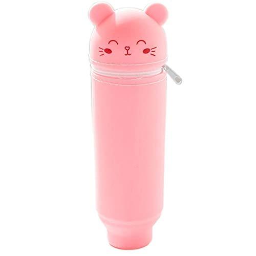 Lápiz de la historieta linda bolsa de silicio caja de lápiz de los efectos de escritorio de Kawaii titular de la pluma Stand Up caja de lápiz del regalo de Navidad de la pluma Organizador (oso, rosa)