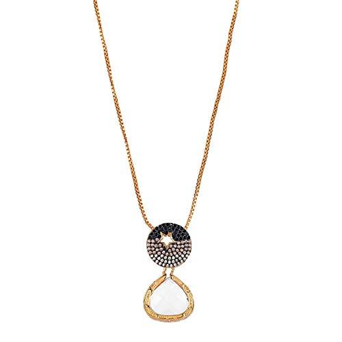 Sparkling Water Drop Clear Crystal Anhänger Halskette Gold Kette Lange Halskette Rad Charm Halskette für (Herr Maker Formen Kostüm)
