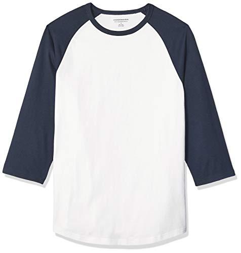 Amazon Essentials Slim-Fit 3/4 Sleeve Baseball fashion-t-shirts, Navy/White, US (EU XL-XXL) -