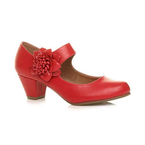 Ajvani Damen Mitte Blockabsatz Lederfutter Komfort Blume Mary Jane Schuhe Größe 5 38 - Rot Mary Damen Jane-schuhe