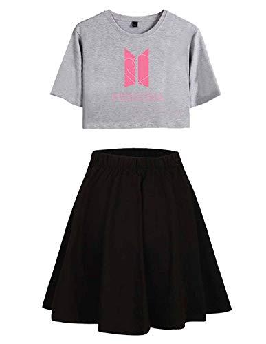 Siennaa BTS T-Shirts und Rock Set Damen, Teenager Mädchen Map of The Soul Persona Tshirts Kurz Rocks Crop Tops Anzug Frauen Bauchfrei Oberteile Armee Suga Jimin Jin Jung Jook J-Hope Rap-Monster V Mädchen Rock Set