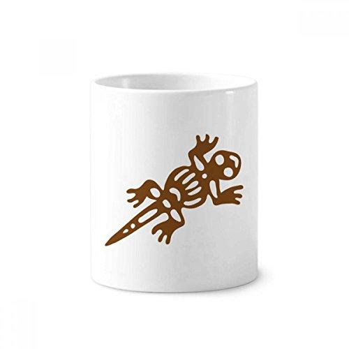 DIYthinker Mexiko Totems Gecko Lizard Antike Kultur Keramik Zahnbürste Stifthalter Tasse Weiß Cup 350ml Geschenk 9.6cm x 8.2cm hoch Durchmesser