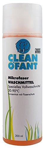 CLEANOFANT Mikrofaser-WASCHMITTEL – 200 ml – Spezielles Mikrofaserwaschmittel mit Faserschutz. Löst Verschmutzungen aus Mikrofaser-Tüchern, die bei der Wohnwagen- und Wohnmobil-Reinigung, Pflege, Politur oder Versiegelung entstehen.