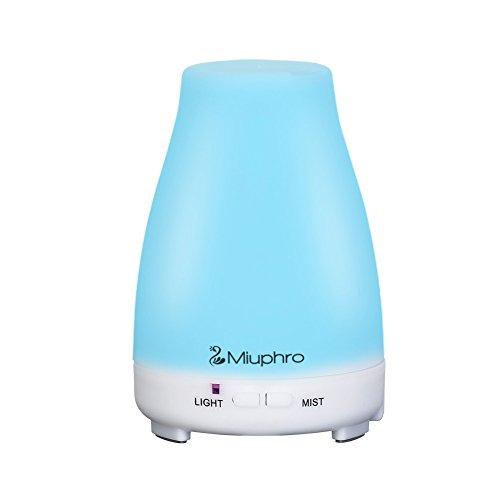 Difusor de aceites esenciales, miuphro 200 ml Humidificador de aire por ultrasonido genérico - Aceite Esencial diffusuer de aromaterapia máquina Perfume con cierre automático y 8 colores LED