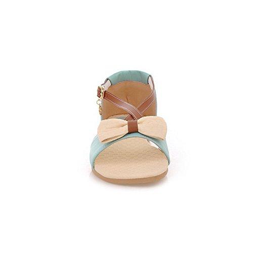 VogueZone009 Femme Boucle à Talon Bas Couleurs Mélangées Sandales Bleu