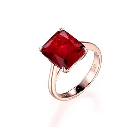 OLGN Ringe Für 925 Silber Ring Quadrat Rubin Und Smaragd Ring Hochzeit Verlobungsring Damen Edlen Schmuck 5 (Kostüm Schmuck Ring Einstellungen)