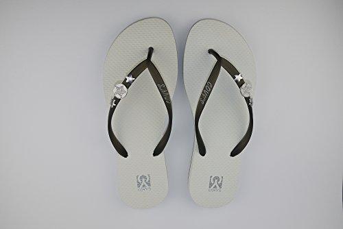 COVY'S jandals black/white #5103 women (Zehentrenner, Sandale, DIY, Pins) Black/White
