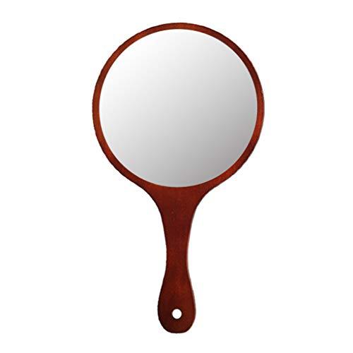 MagiDeal Espejo Cosmético Espejo de Mano de Madera para Maquillaje de Mujeres - Marron Oscuro