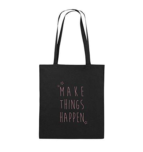Comedy Bags - MAKE THINGS HAPPEN - Jutebeutel - lange Henkel - 38x42cm - Farbe: Schwarz / Pink Schwarz / Rosa