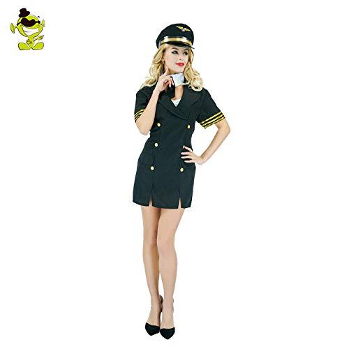 Airline Kostüm - GAOGUAIG AA Frau Airline Pilot Kostüme Erwachsene Frau Uniform Airline Pilot Kostüme Uniform Party Kostüm Outfits Kostüm SD (Color : Onecolor, Size : Onesize)