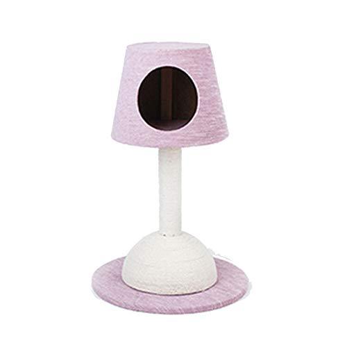 NYDZDM Lampada a Forma di casa di Gatto Multifunzionale Cat's Tree Scratcher Fun Post Climbing Toy Activity Center Proteggi la casa Cat Jumping Tower (Color : Pink)