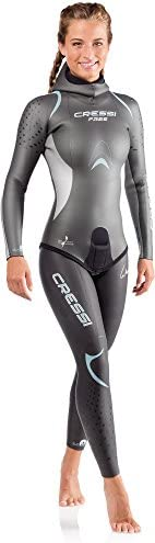 Cressi Women Free Lady Wetsuit 3.5 mm Freediving Wetsuits - Two Piece - Silver Black, L