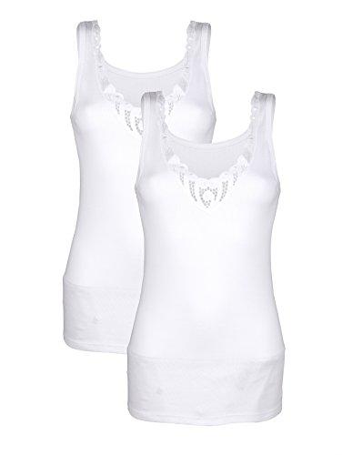 Damen Achselhemden mit Batistmotiv by Harmony 2X Weiß
