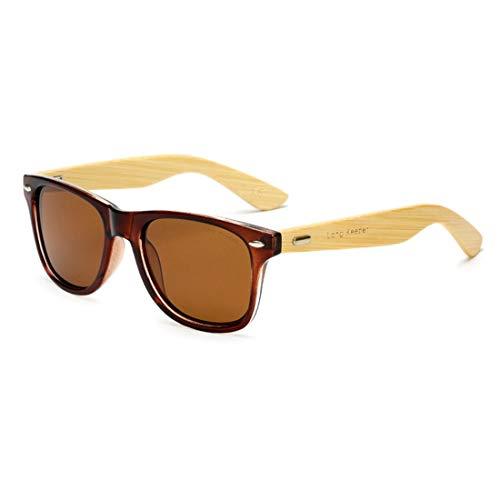 Long Keeper Gafas de sol de Madera de Bambú Polarizadas Clásico Mujeres Hombres Conducción Glasses (Marrón Marrón)
