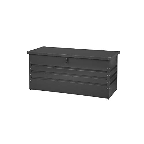 Beliani Kissenbox Outdoor Auflagenbox aus Metall Graphitgrau Gartentruhe Cebrosa