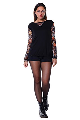 3Elfen Longue Chemise/t-Shirt avec Manches Longues, Moderne et Léger Style; Vêtements Femme fleur marron