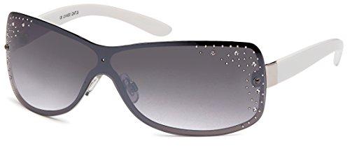 Feinzwirn Glamour - Sonnenbrille Monoscheibe mit Straßsteinen, 2 versch. Farben, Designer -Sonnenbrille (silberweiß/grau verlaufend)