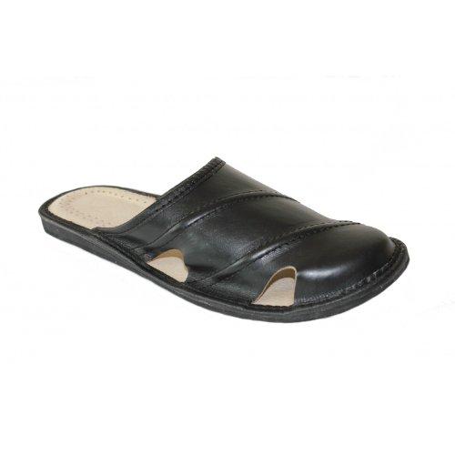 Herren Hausschuhe Leder Pantoffeln Pantoletten Latschen M19 Black