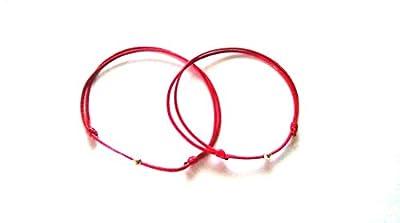 2 Bracelets Kabbale rouge, Cordon nœuds coulissants, Bracelets Minimalistes, Bijoux Homme Enfant Femme, Bracelet zen, argent 925, perle argent sterling réglable 14.50 cm - 20.00 cm