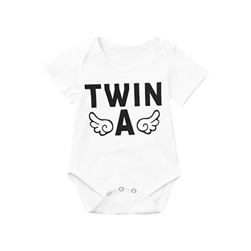 SUNFANY Prinzessin Mini Jumpsuit,Neugeborenes Baby Jungen Mädchen Kurzarm Body Zwillinge Strampler Kleidung,Baby Geschenk(Weiß, 100/18-24 Monate)