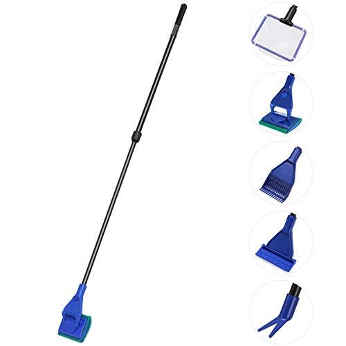 UEETEK 5 in 1 kit di pulizia per acquario pesci vetro serbatoio ghiaia Rake alghe raschietto Flant forcella pulizia strumento