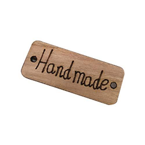 Hemore 100 x Platz Holzknöpfe mit Handmade-Schriftzug handgefertigt Button Natur-Holzknöpfe Zum Annähen für Handarbeiten Oder DIY Bastelarbeiten