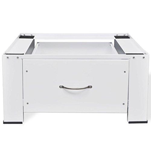 Nishore Waschmaschinen-Untergestell Robuste Sockel Podest mit 1 Schublade Erhöhung für max. bis 100kg Trockner, Gefrierschrank oder Kühlschränke Weiß