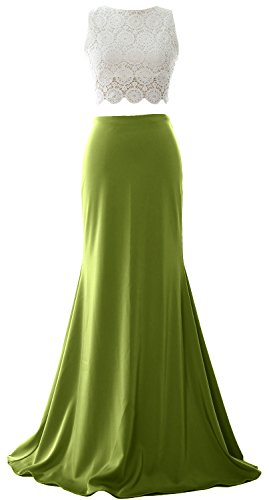 MACloth Women Mermaid 2 Piece Long Prom Dress 2017 Jersey Formal Evening Gown Olive Green