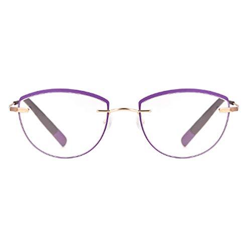 Huicai Unisex rahmenlose Lesebrille ovaler Metallrahmen Brille Klassiker 3 Farben