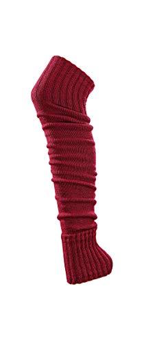 krautwear® Damen Mädchen Beinwärmer Stulpen Legwarmers Overknees gestrickte Strümpfe ca. 70cm Öko-Tex Standard 100 80er Jahre 1980er Jahre schwarz beige rot weiss grau braun (rot)