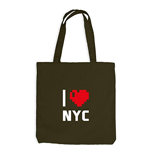 Borsa In Juta - Amo Nyc - Usa Travel Cuore Heart Pixel Oliva