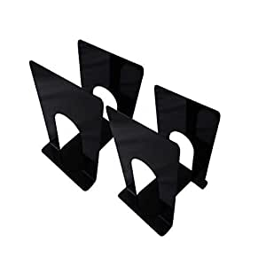 APPUCOCO MS Metal Bookend for Office - 4 Per Pack (Black)