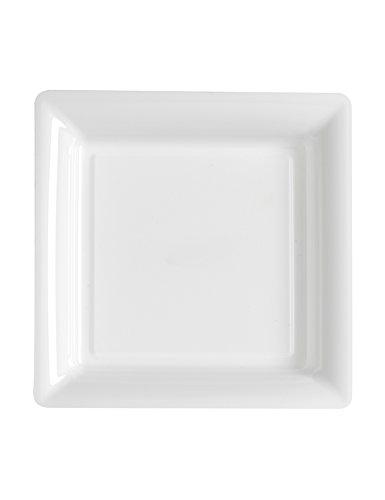 Assiette carrée plastique blanche 18cm x12 (Blanc)