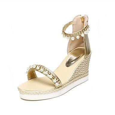 Ouro, Prata Lvyuan Sandália-office Vestido Materiais Casualmente Personalizado Imitação Cunha De Couro Salto Alto Conforto Novidade Club-sapatos-branco