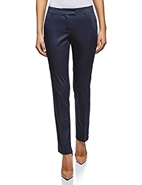 oodji Collection Donna Pantaloni in Cotone Elasticizzato