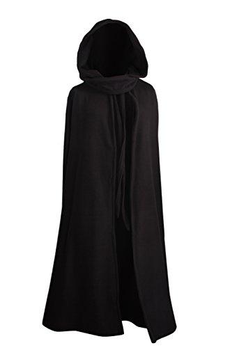 Mittelalterlicher Kapuzenumhang - wärmend - schwarz - 130cm