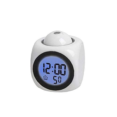Kacniohen LED-Bunte-Projektions-Wecker Multi-Funktions-Digital-LCD Stimme Sprechender Wecker Wake Up Schlafzimmer Mit Daten Temperatur Wecker Ohne Batterie Weiß