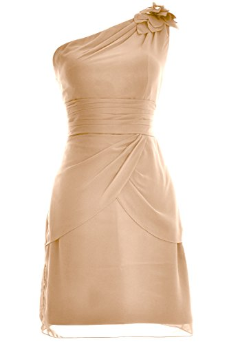 MACloth Women One Shoulder Short Bridesmaid Cocktail Dress Formal Evening Gown Champagne