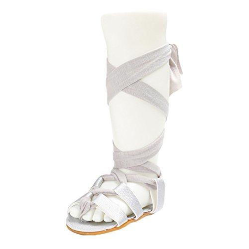 CHENGYANG Bambino Estivo Moda Ragazze Antiscivolo Scarpe Stile Gladiatore Bandage Sandali Argento