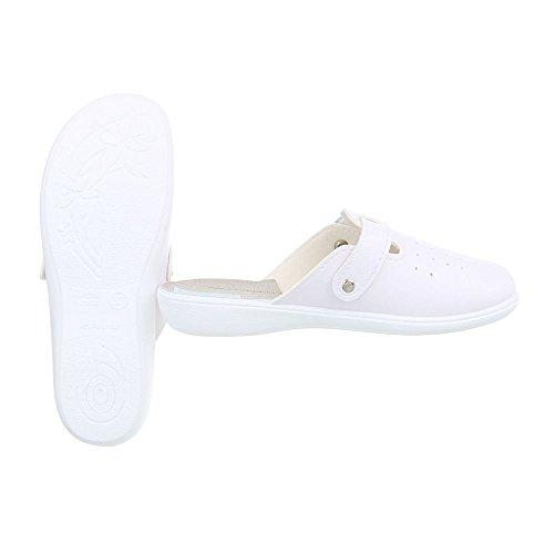 Ital-Design Hausschuhe Damenschuhe Pantoffeln Pantoffel Freizeitschuhe Weiß