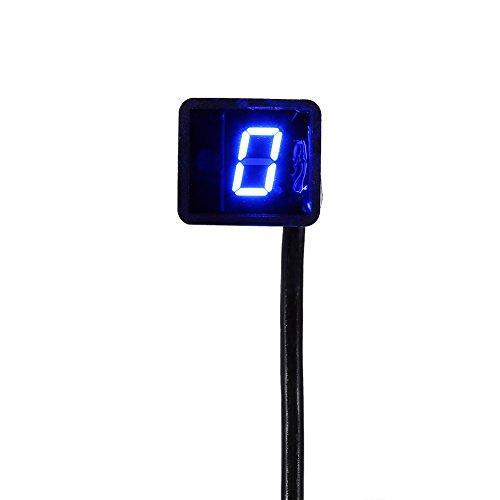 Yosoo Indicador de Marcha de Motocicleta Impermeable, Indicador Digital de Engranajes, Universal 8Velocidad LED Pantalla, Palanca de Cambio Sensor (Azul)