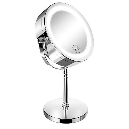 Espejo de maquillaje iluminado, NOTENS Doble cara 1x / 10x Aumento 18 Luces LED 360 Rotación 7 pulgadas...