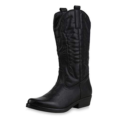 SCARPE VITA Damen Cowboystiefel Stickereien Western Stiefel Cowboy Boots 173418 Schwarz 37
