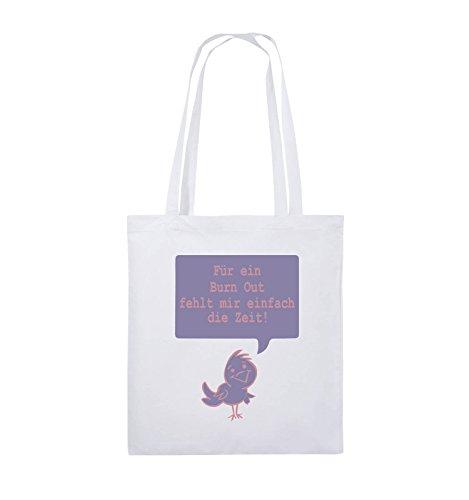 Comedy Bags - Für ein Burnout fehlt mir einfach die Zeit! - Jutebeutel - lange Henkel - 38x42cm - Farbe: Schwarz / Weiss-Rot Weiss / Rosa-Violet