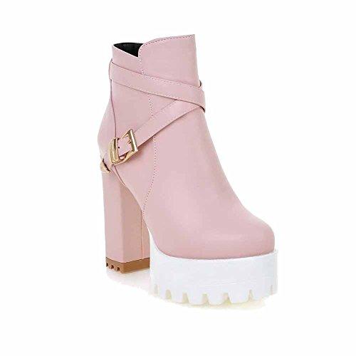 VogueZone009 Damen Rei脽verschluss Hoher Absatz Rein Wasserdicht Plattform Stiefel Pink