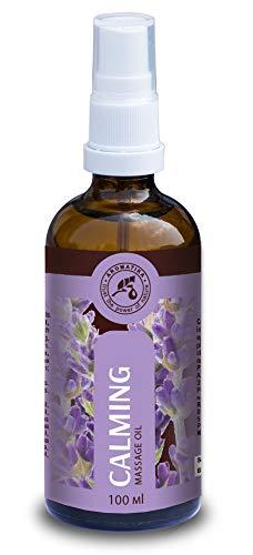 Aceite para Masajes Relajantes 100ml - con Aceite de Lavanda 100% Natural En Botella de Cristal - Aceite para Masajes Relajantes con Una Maravillosa Fragancia - Cosméticos Naturales para Alivio del Estrés - Sueño Reparador - Relajación - para el Cuidado de La Piel - Aromaterapia - Masajes de Aceite de Aromatika